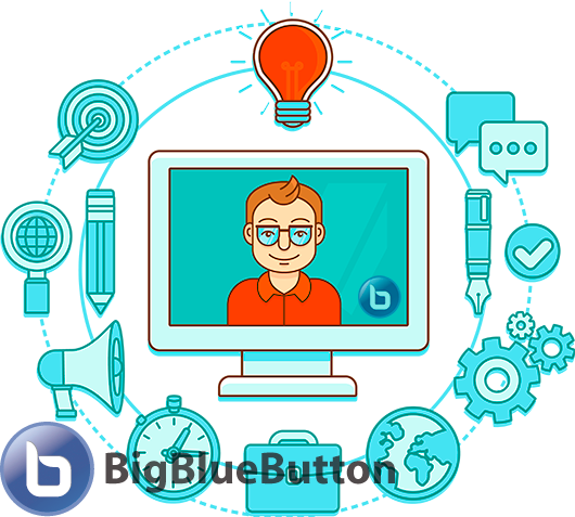 Web conferencing based on BigBlueButton and Moodle, webinars