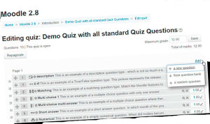Moodle quiz add question menu